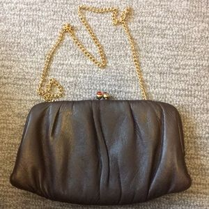 Cute taupe leather clutch